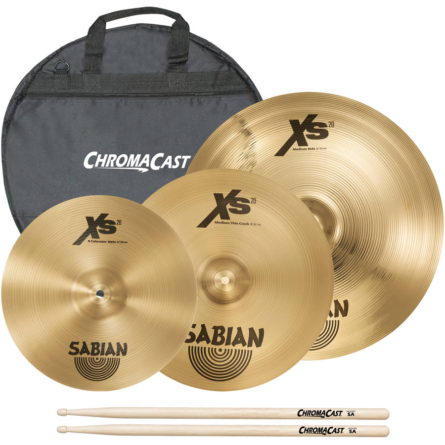 "Sabian Performer Cymbal Set Includes 14"" Hats, 16"" Medium Thin Crash, 21"" Medium Ride, and ChromaCast Cymbal Bag and Drumsticks"
