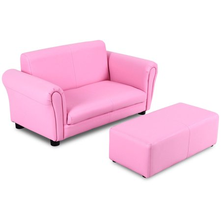 Costway Pink Kids Sofa Armrest Chair Couch Lounge Children Birthday Gift w/ Ottoman