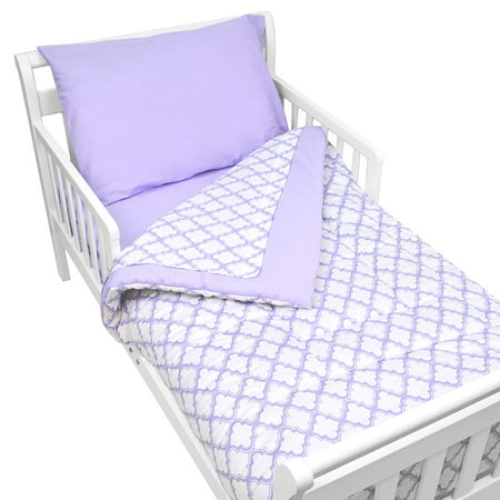 American Baby Company 100% Cotton Percale 4-piece Toddler Bedding Set, Lavender Morrocan, for Boys and (Baby Boy Girl Bedding)