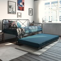 RealRooms Ally Metal Farmhouse Daybed with Trundle, Twin, Black