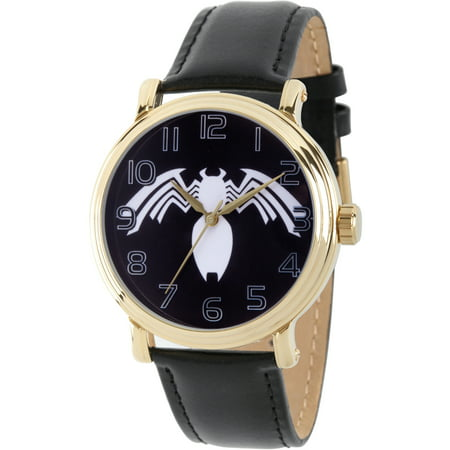 Spider-Man Venom Men's Gold Alloy Vintage Watch, Black Leather Strap ()