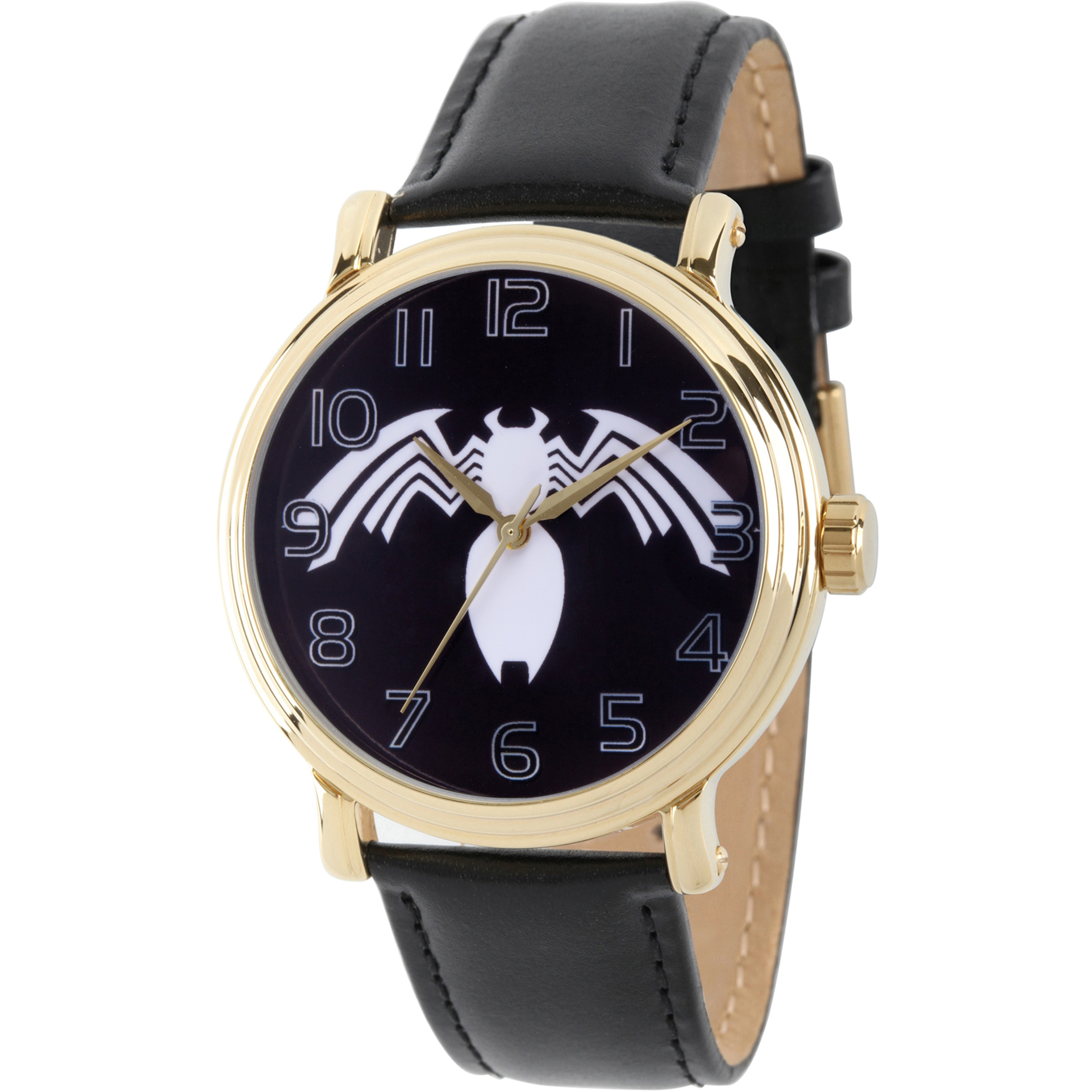 Spider-Man Venom Men's Gold Alloy Vintage Watch, Black Leather Strap