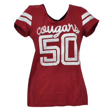 NCAA Washington State Cougars V Neck Striped Short Sleeve Burgundy Tee - Halloween Washington State