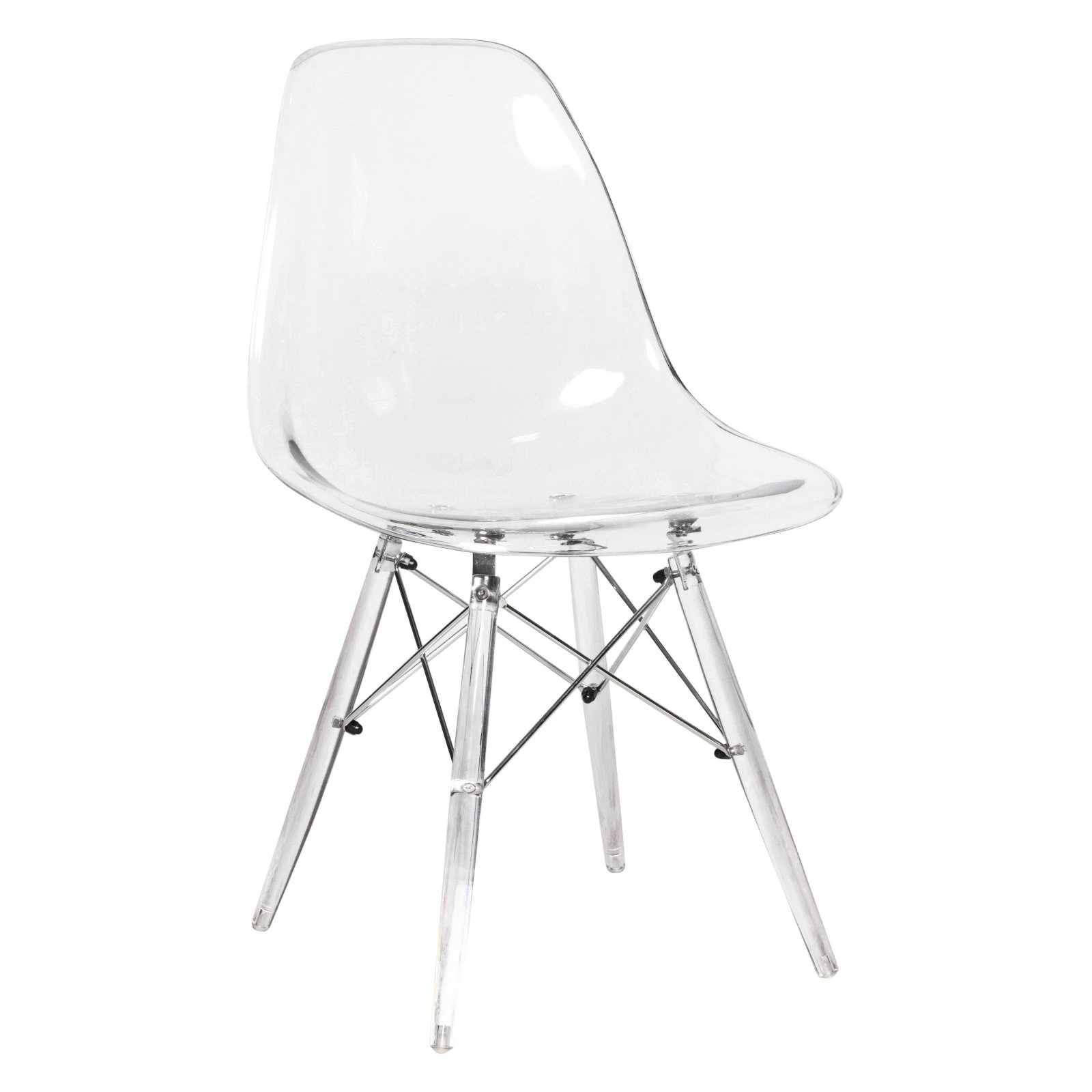 Leisuremod Dover Molded Clear Dining Side Chair With Acrylic Base