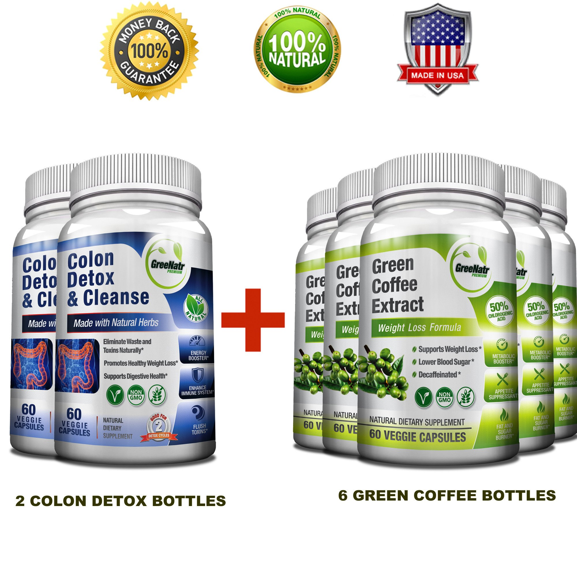 Pure Green Coffee Bean Extract + Colon Cleanse Detox Diet - Weight Loss and Detox Bundle - 120 Veggie Capsules - Gluten Free - Non GMO