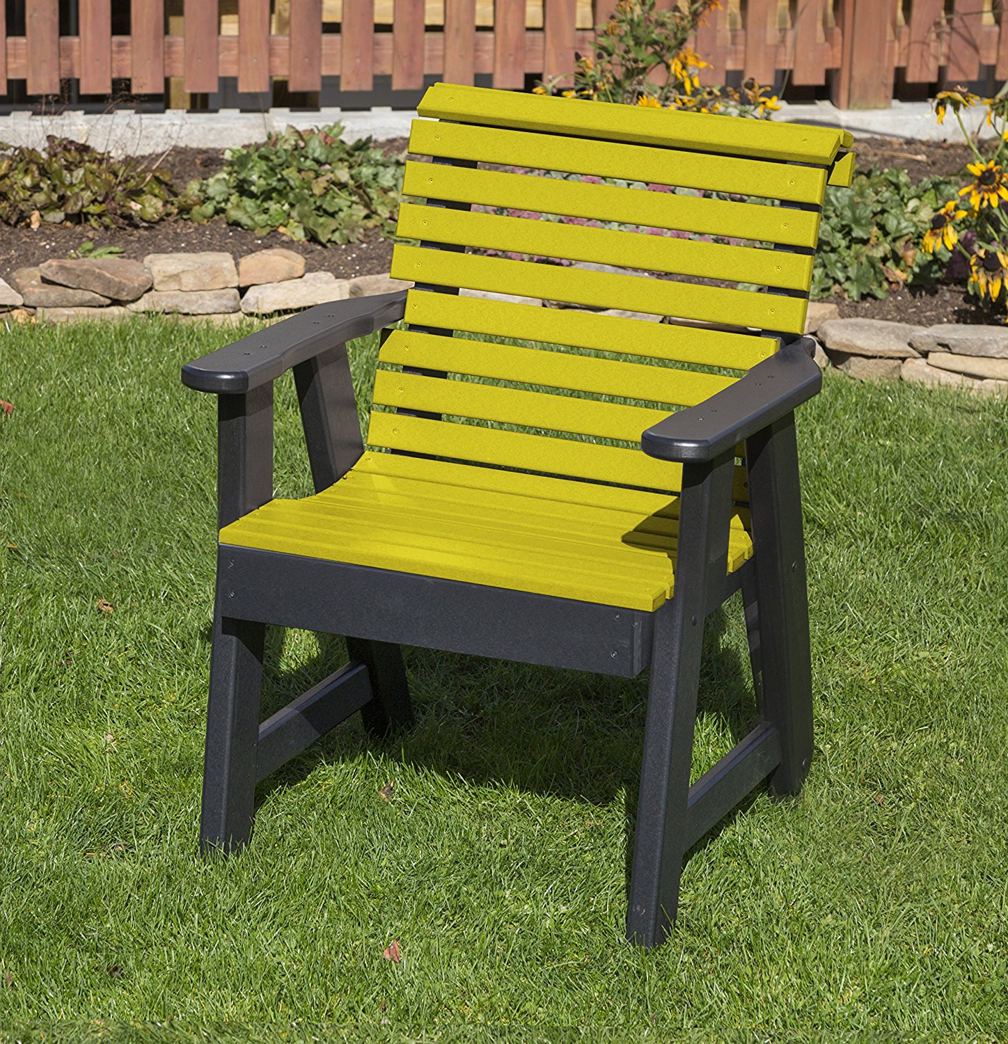 Outdoor Patio Garden Lawn Exterior Yellow Finish Poly Lumber Roll Back 2 Ft Chair Heavy Duty Everlasting -Amish Crafted