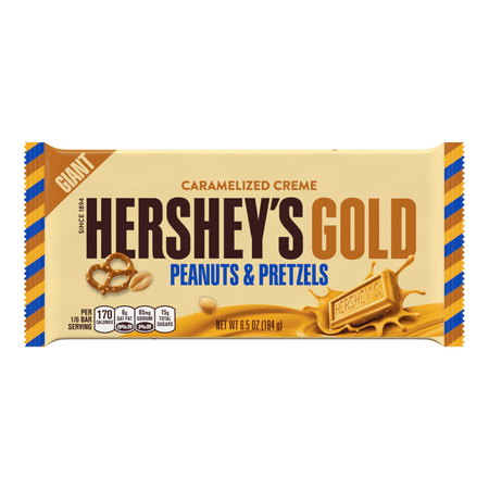 Hershey's Gold Giant Peanut & Pretzels Candy Bar, 6.5 Oz.