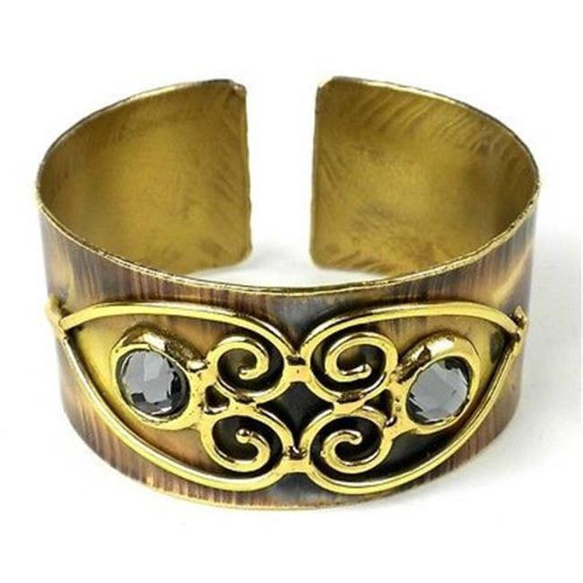 Brass Images Scrolling Hearts & Gray Crystal Brass Cuff