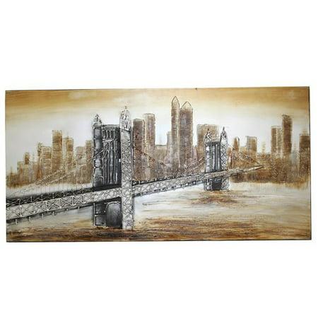 Ecworld Enterprises 7726635 New York Bridge Hand Painted Contemporary Canvas Wall Art Decor