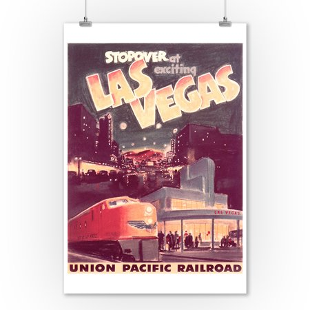 Union Pacific Railroad - Stop Over at Exciting Las Vegas Vintage Poster USA (9x12 Art Print, Wall Decor Travel