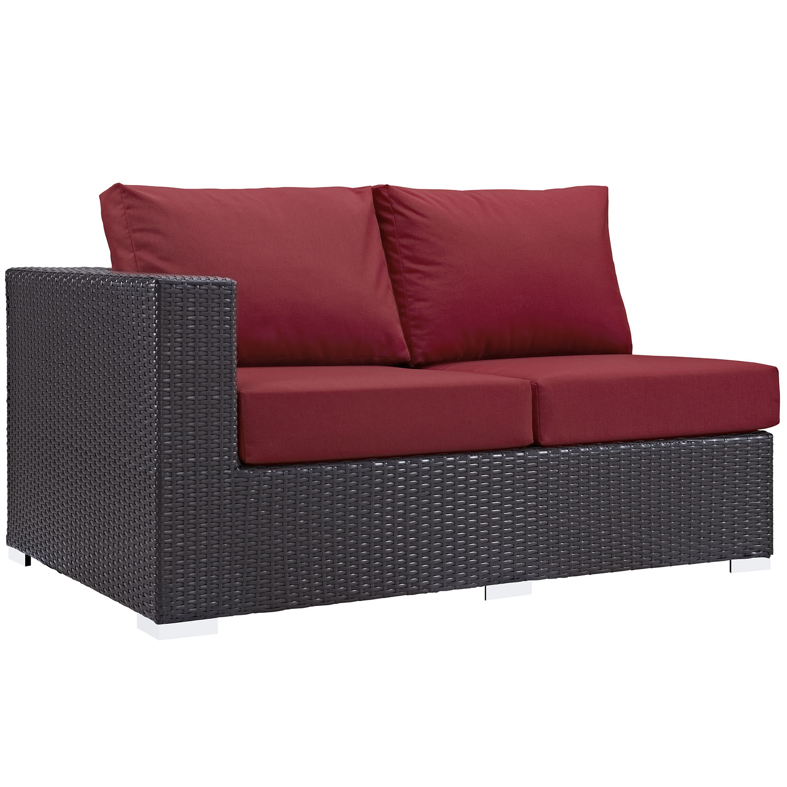 Modern Contemporary Urban Design Outdoor Patio Balcony Left Arm Loveseat Sofa, Red, Rattan
