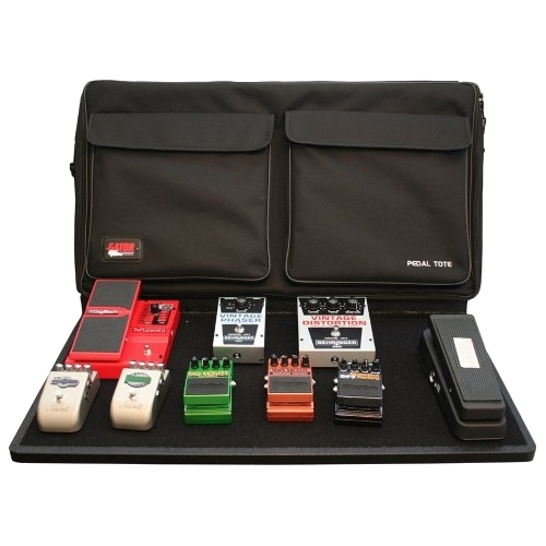 """Gator Large Plywood 30"""" x 16"""" Pedal Tote Pro Pedal Board with Black Nylon Carry Bag and Pocket. Includes G-Bus-8 Power Supply"""