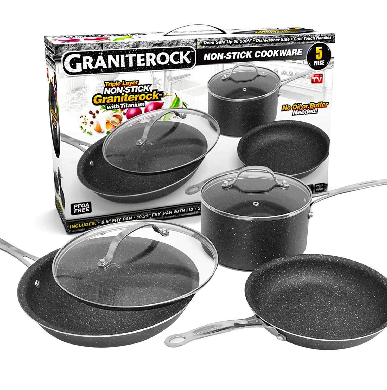 GraniteRock 5-Piece Non-Stick Ultra Durable, Mineral & Granite Coated Scratch Proof Cookware Set
