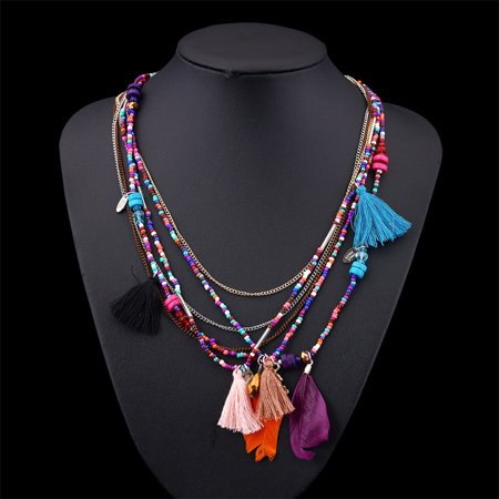 New Fashion Jewelry Multi-layer Chain Handmade Beaded Bohemian Feather Necklace