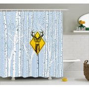 Hunting Decor Shower Curtain, Attention Deer in The Woods Warning Sign  Leafless Trees Winter Illustration