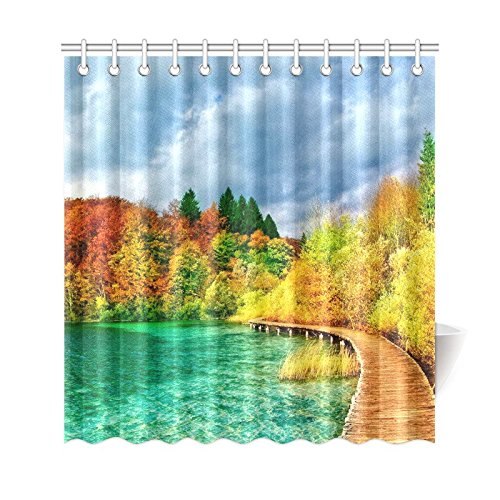 GCKG Autumn Trees View Shower Curtain, National Park Scenery Polyester Fabric Shower Curtain Bathroom Sets with Hooks 66x72 Inches - image 3 of 3