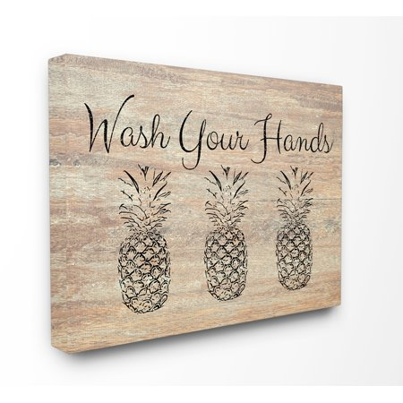 Pineapple Decor - The Stupell Home Decor Collection Wash Your Hands Pineapple Stretched Canvas Wall Art, 16 x 1.5 x 20