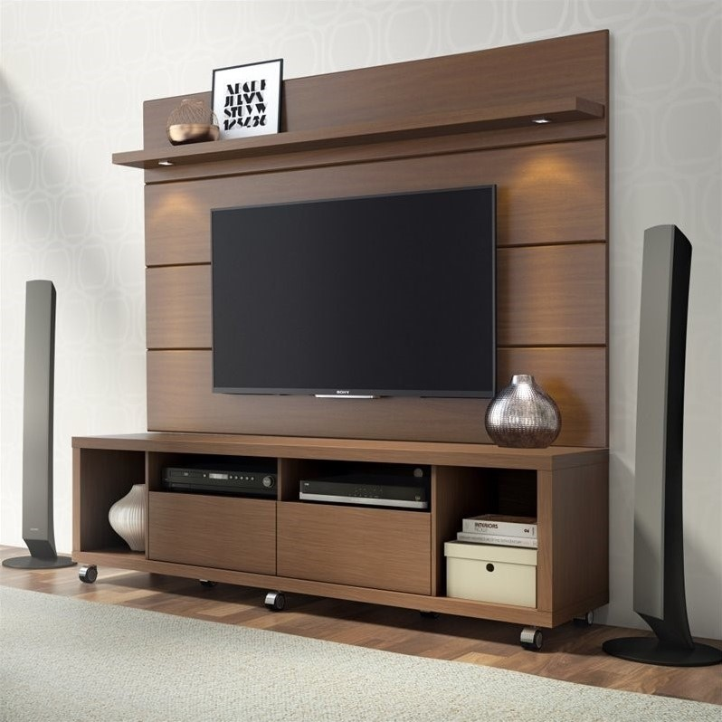 "Manhattan Comfort Cabrini 1.8 Series 71"" TV Stand and Panel in Brown"