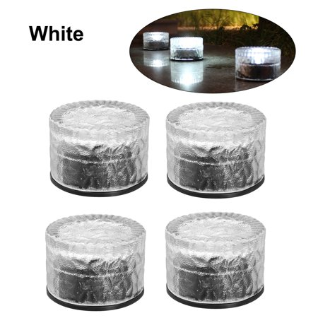 4Pcs Solar Glass Brick Lights Round Buried Light Ground Lamp IP65 Water-resistant Outdoor Landscape Lighting for Garden Lawn Pathway Patio Yard ()