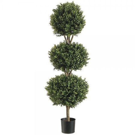 Silk Decor 4-Feet Tri Ball Boxwood Topiary Plant, (Ball Topiary Silk)