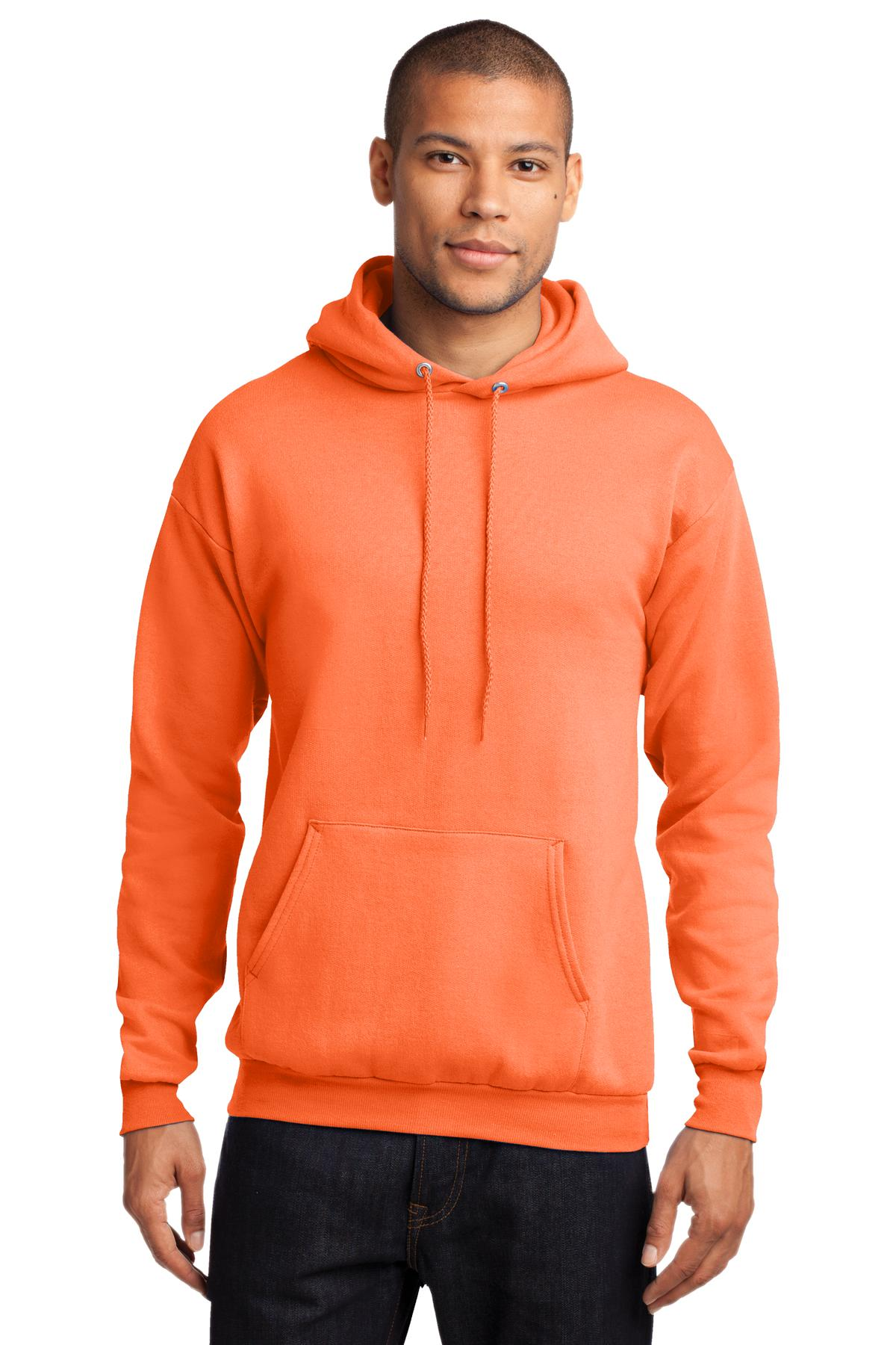 Port /& Company Mens Pullover Pocket Hooded Sweatshirt Orange Small
