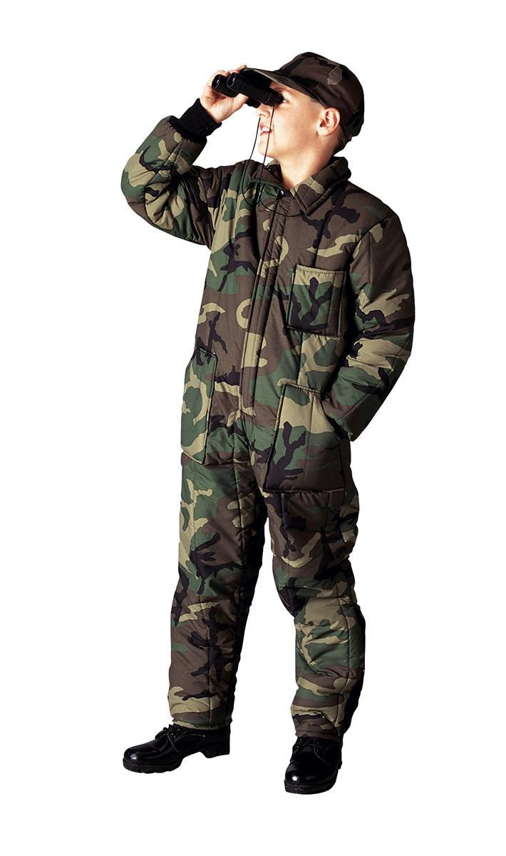 Click here to buy Kid's Camouflage Insulated Coveralls by Rothco.