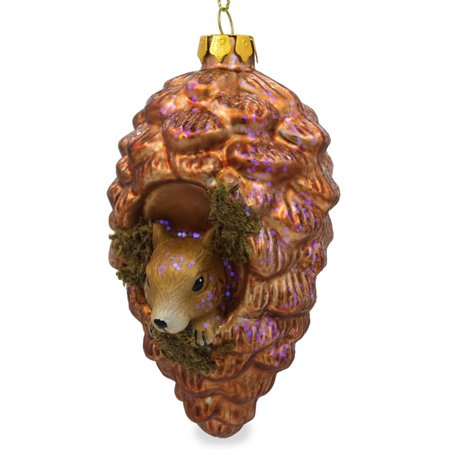Squirrel in Pinecone Blown Glass Christmas Ornament 5 Inches