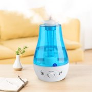 Tebru Air Humidifier, 3L Ultrasonic Cool Mist Humidifier Diffuser With Double Spray and Led Nightlight for Baby Home Bedroom Office Room, Mist Maker Air Purifier, 110V Blue, Ultrasonic Humidifier
