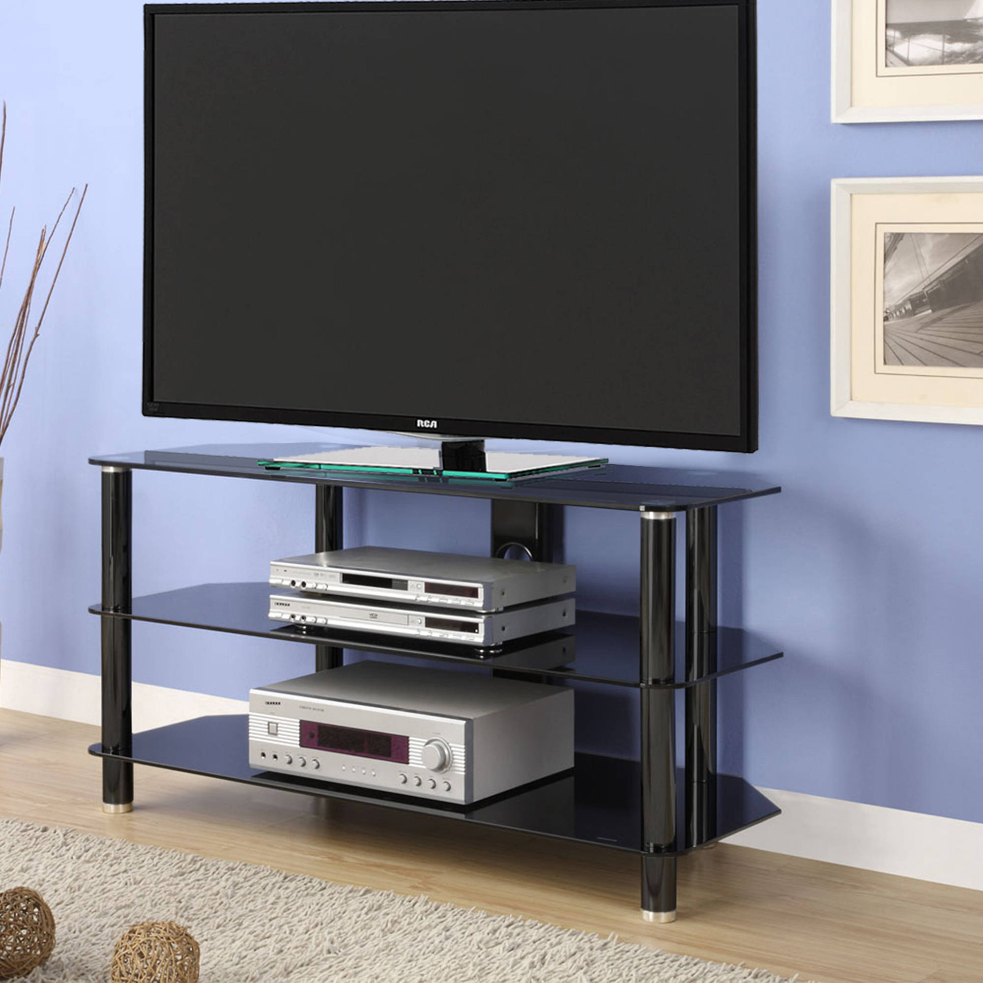 """Innovex Tempered Black Glass Concord 42 TV Stand for TVs up to 52"""", Black"""