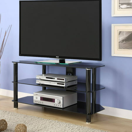 Innovex Tempered Black Glass Concord 42 TV Stand for TVs up to 52″, Black
