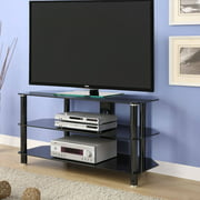 "Innovex Tempered Black Glass Concord 42 TV Stand for TVs up to 52"", Black"