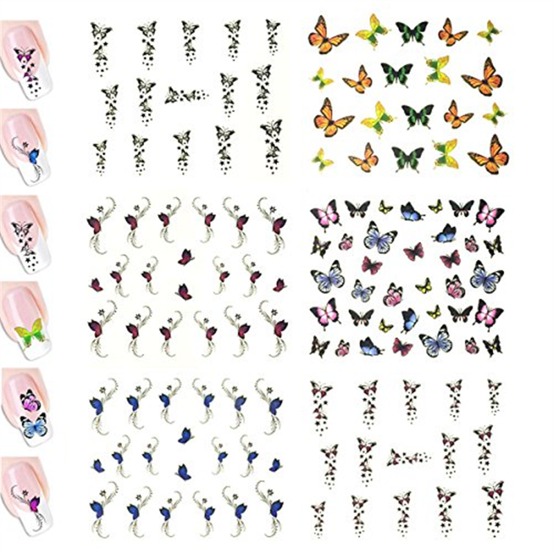 Nail Art Water Nail Stickers Water Transfer Stickers / Nail Art Tattoos / Nail Art Decals, Butterflies (6 sheets)