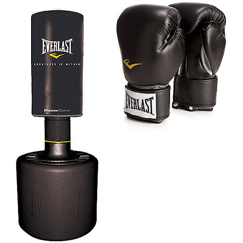 Everlast PowerCore Free Standing Heavy Bag and Pro Style Black Boxing Gloves Value Bundle