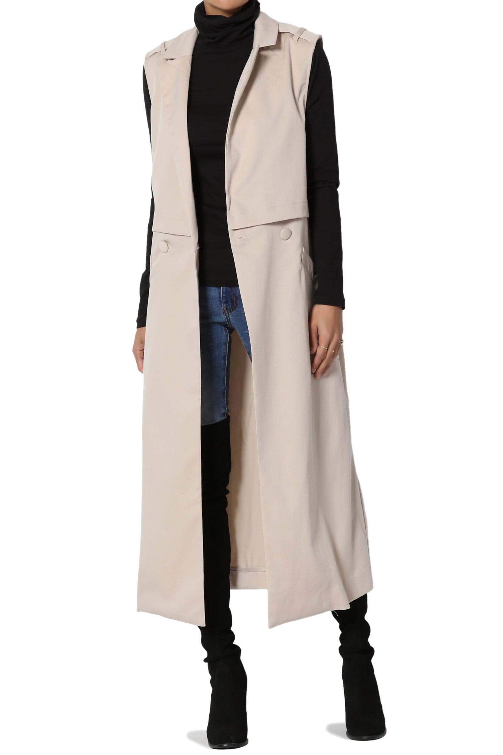 Womens Trench Jacket Double Breasted Lapel Belt Sleeveless Long Waistcoat Vests