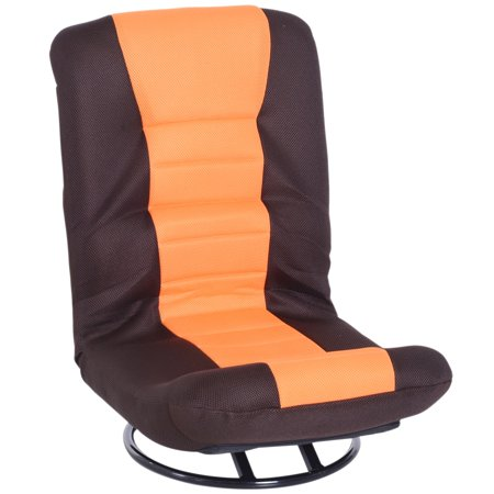 360 Degree Swivel Floor Gaming Chair Folding Video Floor Lazy Couch Floor Bed Recliner w/ 5-Position Adjustable Backrest Orange & Brown - image 4 of 7