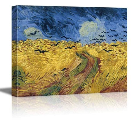 """wall26 Wheatfield with Crows by Vincent Van Gogh - Oil Painting Reproduction on Canvas Prints Wall Art, Ready to Hang - 32"""" x 48"""""""
