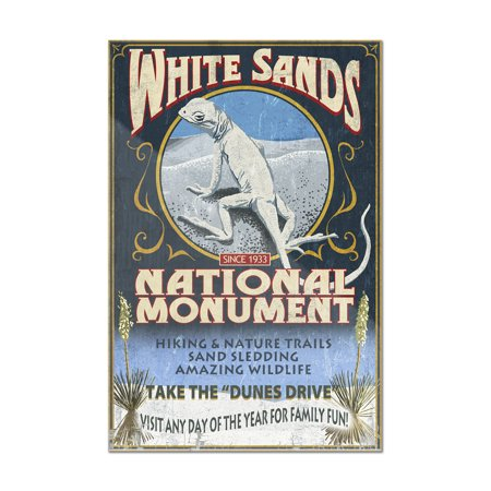 White Sands National Monument  New Mexico   Lizard Vintage Sign   Lantern Press Artwork  8X12 Acrylic Wall Art Gallery Quality