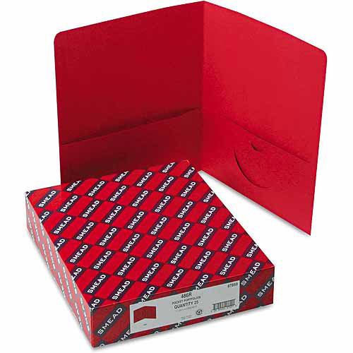 Smead Two-Pocket Portfolio, Embossed Leather Grain Paper, Red, 25/Box