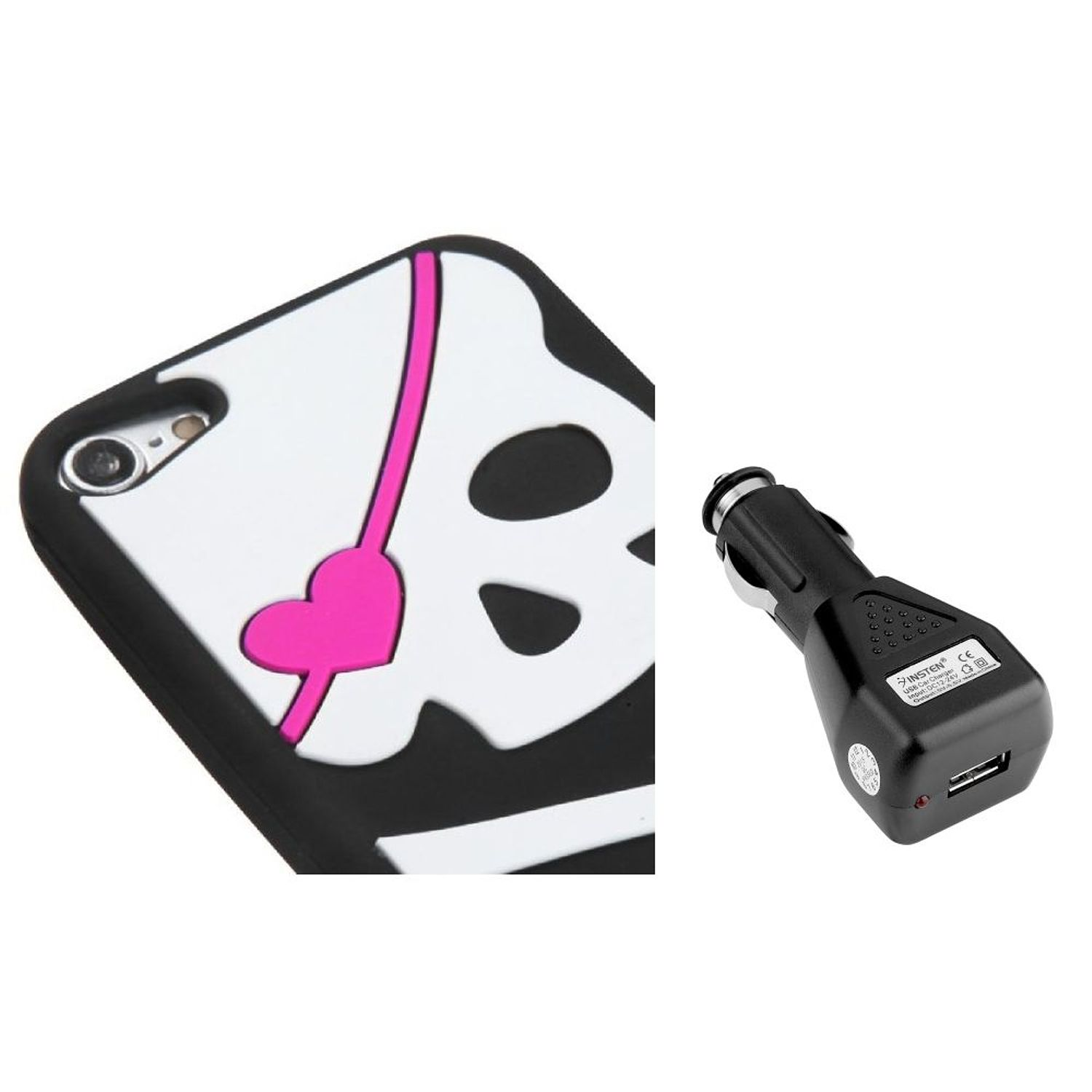 Insten Big Skull/Black Pastel Skin Cover Case For iPod Touch 6 6G 5 5G + USB Car Charger (2-in-1 Accessory Bundle)