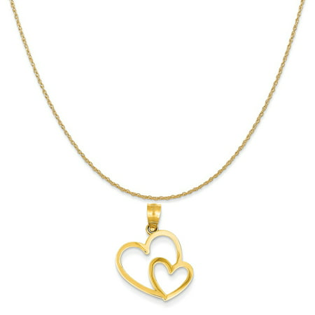 14k Yellow Gold Double Heart Charm on a 14K Yellow Gold Rope Chain Necklace, 18""