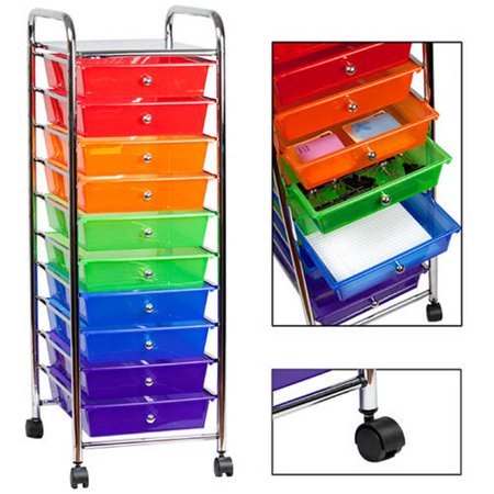 sunbeam 10 drawer rolling cart multi color. Black Bedroom Furniture Sets. Home Design Ideas