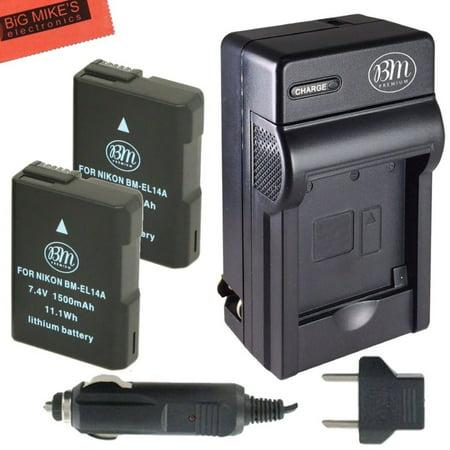 BM Premium 2-Pack of EN-EL14, EN-EL14A Battery and Charger for Nikon Coolpix P7000, P7100, P7700, P7800, D3100, D3200, D3300, D5100, D5200, D5300, D5500, DF Digital SLR Camera (Nikon P7100 Battery Charger)