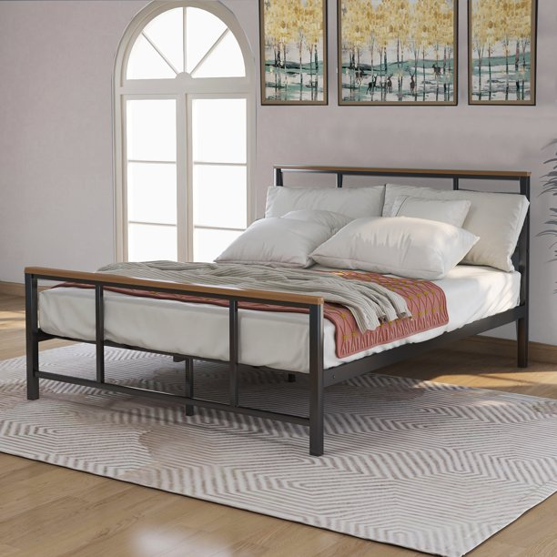Full Size Metal Bed Frame Heavy Duty, Wood And Black Metal Bedroom Furniture