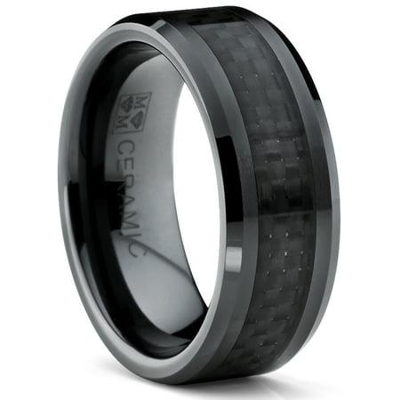 8MM Flat Top Men's Black Ceramic Ring Wedding Band With Black Carbon Fiber Inlay Sizes 5 to -