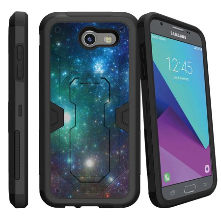 Samsung Galaxy J3 Emerge Case | J3 2017 Release Case [Max Defense] Dual Layer Case with Built In Kickstand + Belt Clip - Blue Space (Samsung Galaxy Note 8 Specs And Price)
