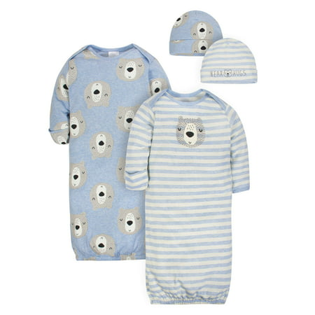 Newborn Baby Boys Convertible Gown - Gerber Organic cotton cap and gown outfit set, 4pc (baby boy)