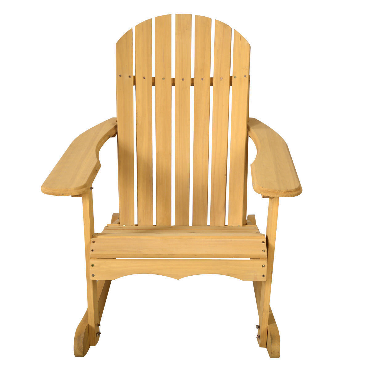 GHP Natural Fir Wood Contoured Seat Adirondack Patio Porch Deck Garden Rocking Chair