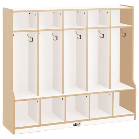 Colorful Essentials 5 Section Coat Locker With Bench White Maple