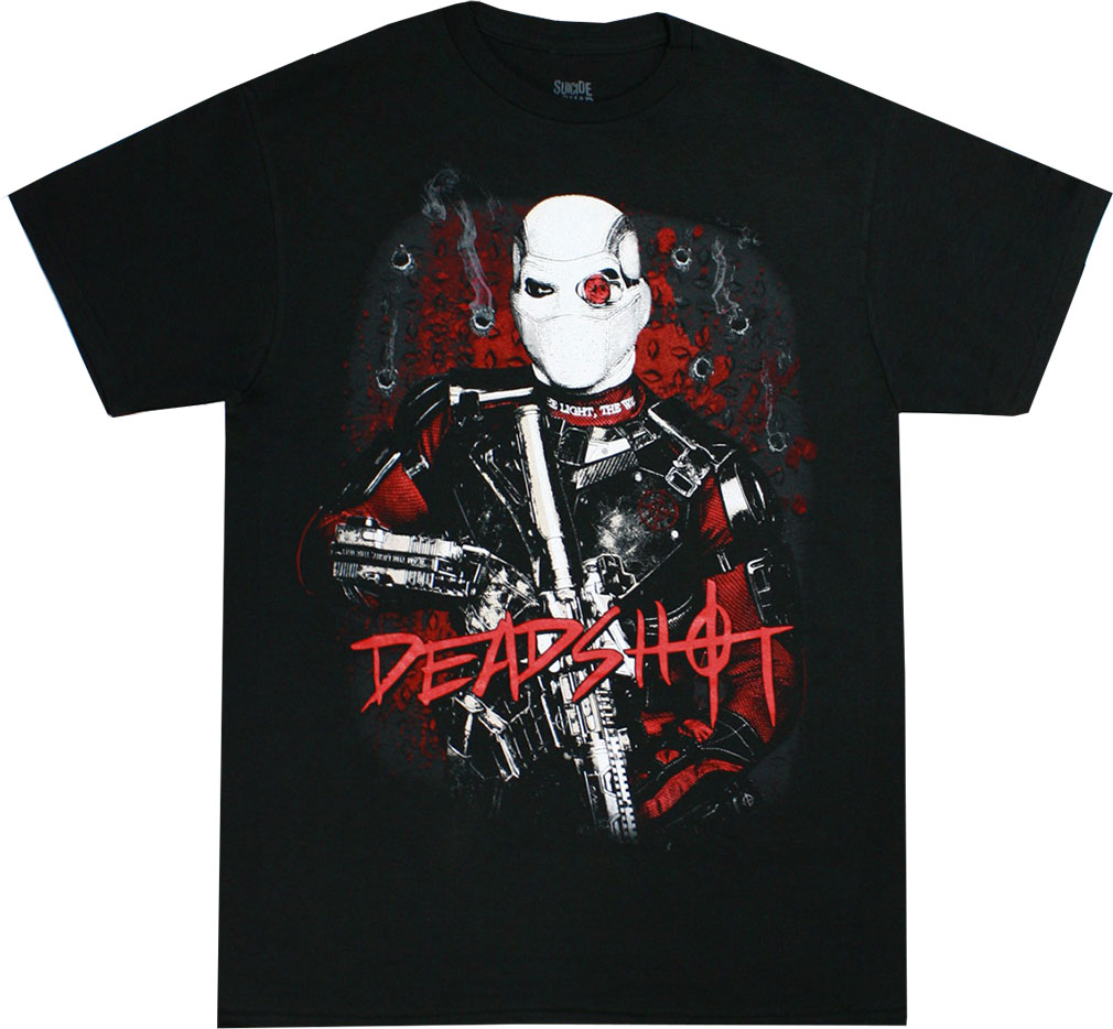 Suicide Squad Deadshot Bullet Holes Men's Black Shirt, Medium