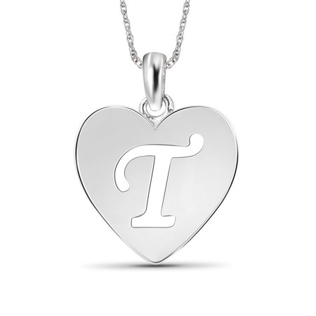 Sterling Silver A Initial Cutout Heart Pendant